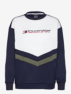 BLOCKED TERRY CREW LOGO - sweatshirts - sport navy