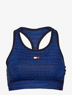 HIGH SUPPORT PRINTED BRA - sports bras - blue ink aop
