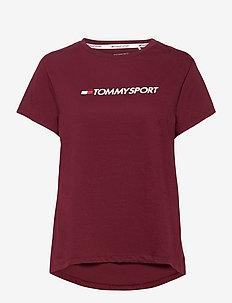 COTTON MIX CHEST LOGO TOP - t-shirts - deep rouge
