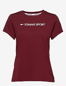 PERFORMANCE CHEST LOGO TOP - logo t-shirts - deep rouge