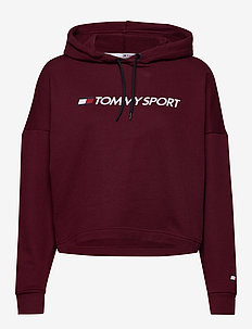 CROPPED HOODY LOGO - hoodies - deep rouge