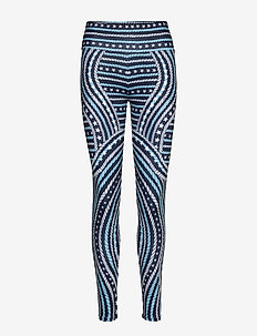 ENGINEERED PRINTED LEGGING - running & training tights - blue allover 02