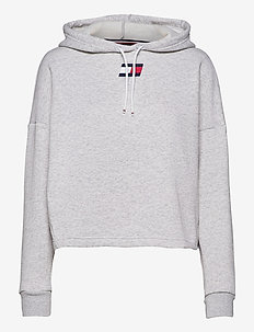 CROPPED HOODY FLAG LOGO - hoodies - ice heather