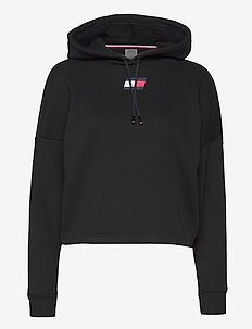 CROPPED HOODY FLAG LOGO - hoodies - pvh black