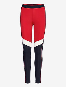 FULL LENGTH HERRINGBONE LEGGING - running & training tights - primary red