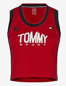 CROP TOMMY TANK TOP - navel shirts - primary red
