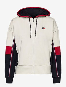 COLORBLOCKED FULL ZIP HOODY - hoodies - ivory