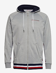KNIT FZ HOODY TAPE, - GREY HEATHER