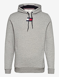 FLAG FLEECE HOODY - hoodies - grey heather