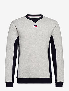 BLOCKED FLEECE CREW - longsleeved tops - grey heather