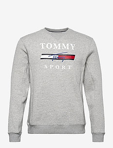 GRAPHIC FLEECE CREW - tops - grey heather