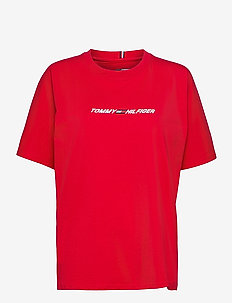 RELAXED C-NK GRAPHIC TEE SS - t-shirts - primary red