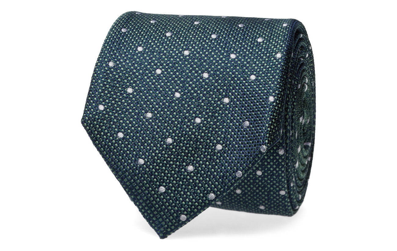Tommy Hilfiger Tailored SILK DOT 7CM TIE - SEAWEED