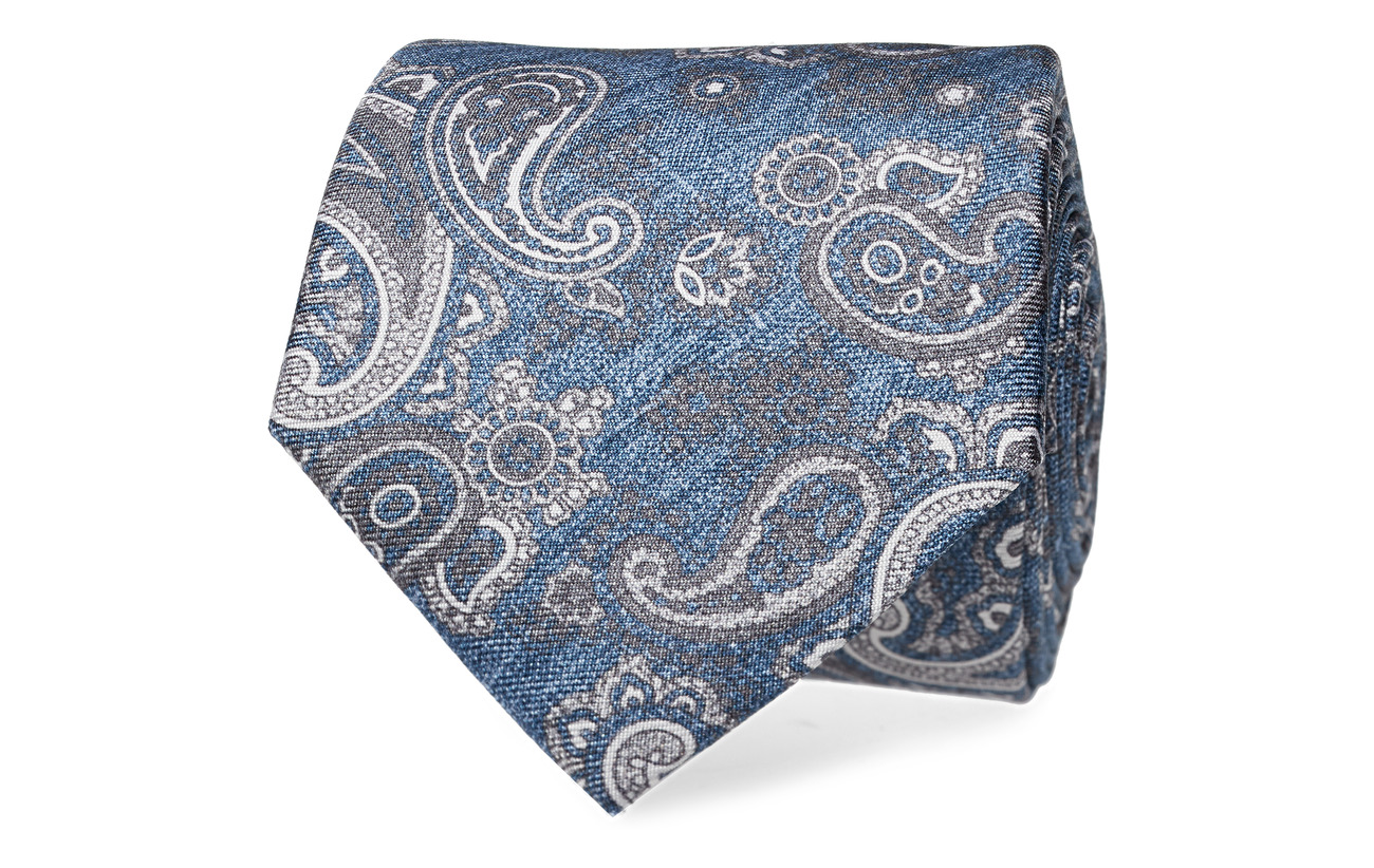 Tommy Hilfiger Tailored SILK PAISLEY 7CM TIE - ARTIC BLUE