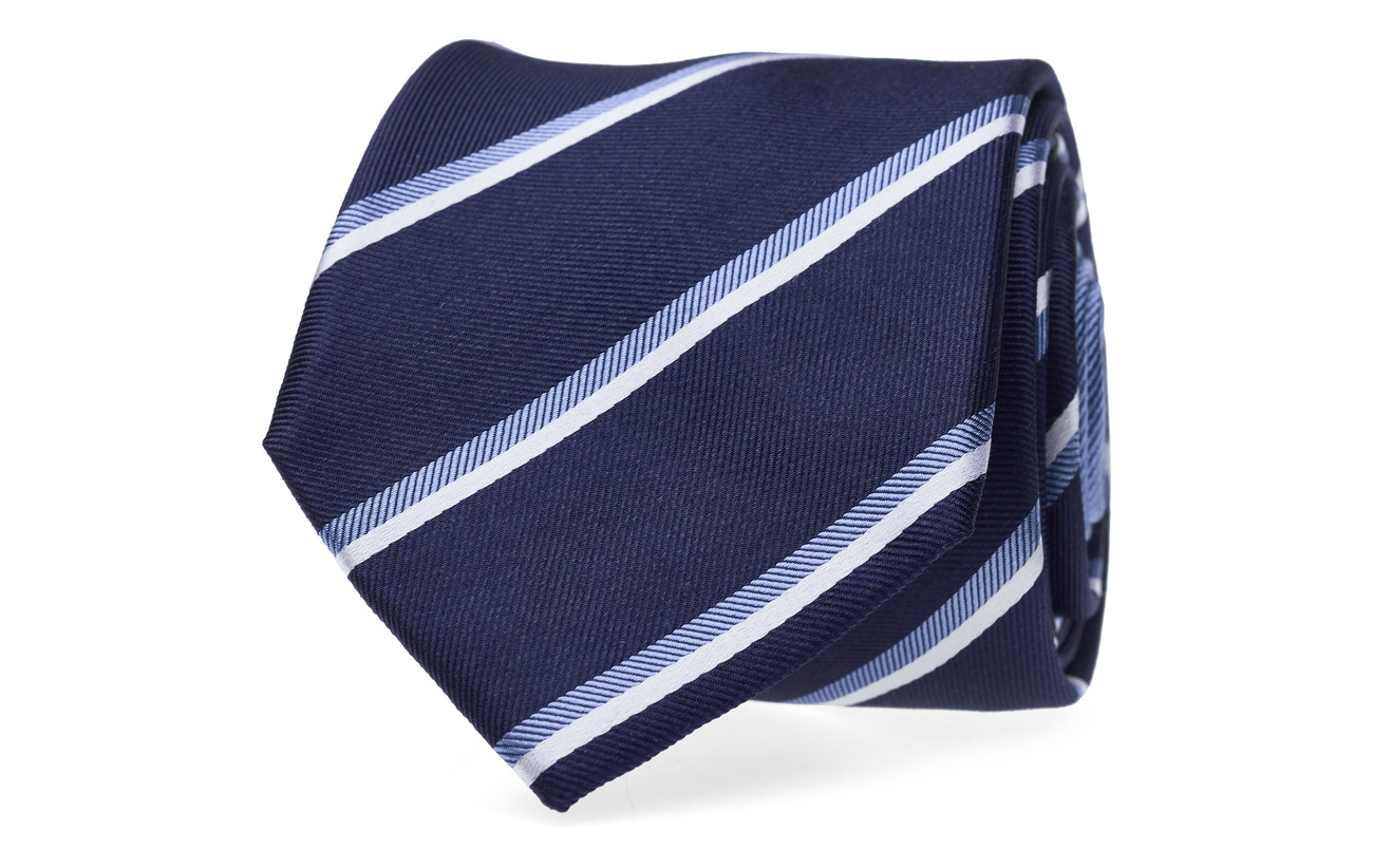 Tommy Hilfiger Tailored SILK STRIPE 7CM TIE - NAVY/LIGHTBLUE/WHITE