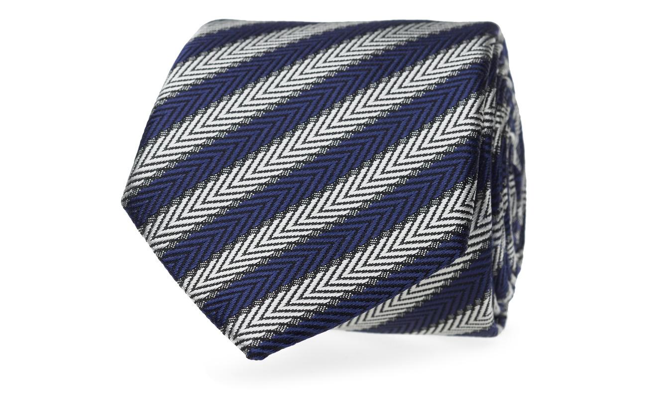 Tommy Hilfiger Tailored SILK BLEND HERRINGBONE 7CM TIE - NAVY/WHITE
