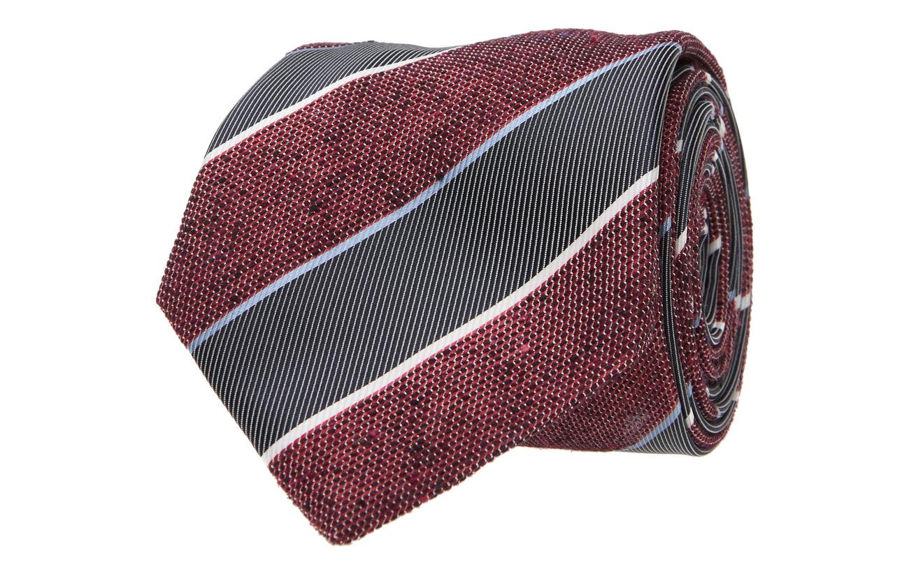 Tommy Hilfiger Tailored COTTON BLEND STRIPE 7CM TIE - RED/NAVY/WHITE