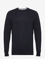 Tommy Hilfiger Tailored - HERRINGBONE TEXTURE CREW NECK - basic strik - desert sky - 0