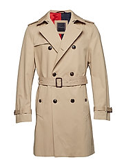 COTTON TRENCH COAT, - CAMEL