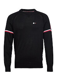 2 MB TECH STRIPE SWEATER - JET BLACK