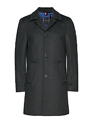 WOOL BLEND OVERCOAT, - CHARCOAL HEATHER