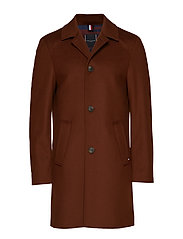 WOOL BLEND OVERCOAT, - MILK CHOCOLATE