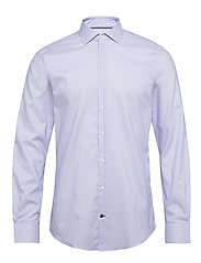 STRIPE FLEX COLLAR SLIM SHIRT - COBALT/WHITE
