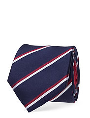 SILK STRIPE 7CM TIE - NAVY/HAUTERED/WHITE