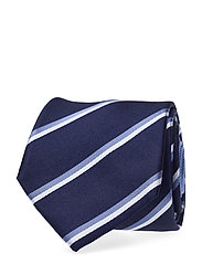 SILK STRIPE 7CM TIE - NAVY/LIGHTBLUE/WHITE