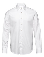 HERRINGBONE FLEX COLLAR SHIRT - WHITE
