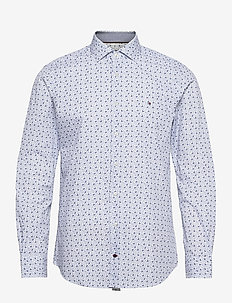 MINI FLORAL PRINT SLIM SHIRT - casual skjortor - white / navy