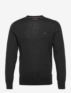 FINE GAUGE MERINO WOOL CREW NECK - basic strik - black