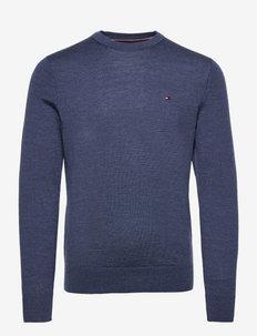 FINE GAUGE MERINO WOOL CREW NECK - tricots basiques - faded indigo heather
