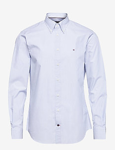 POPLIN WIDE STRIPE REG SHIRT - rutiga skjortor - light blue/ white