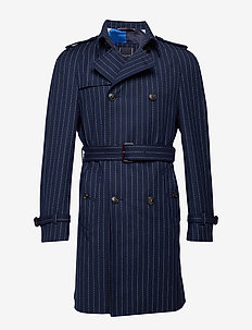 STRIPE RAGLAN TRENCH - NAVY BLAZER