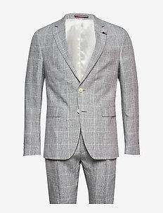 LINEN   CHECK SLIM FIT SUIT - light grey
