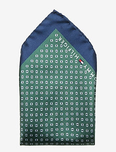 SILK PRINT POCKET SQ - MULTI GREEN