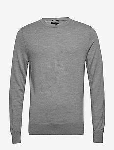 FINE GAUGE LUXURY WOOL CREW NECK - knitted round necks - heather grey melange