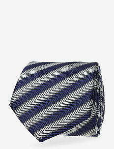 SILK BLEND HERRINGBONE 7CM TIE - slips - navy/white