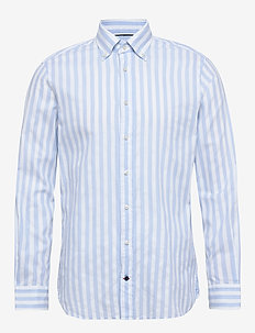 WASHED STRIPE BUTTON - casual shirts - lightblue/white