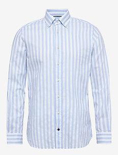 WASHED STRIPE BUTTON - chemises décontractées - lightblue/white