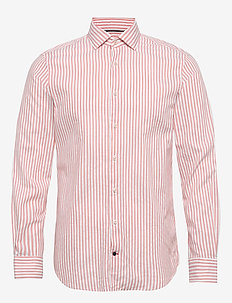 WASHED STRIPE CLASSIC SLIM SHIRT - business shirts - salmon/white
