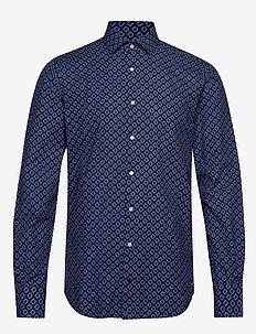 WASHED PRINT CLASSIC SLIM SHIRT - business skjorter - thdarknavy/thwhite