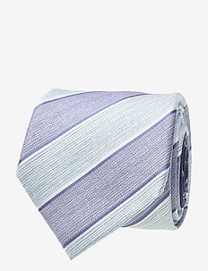 SILK STRIPE 7CM TIE - BLUE/GREEN