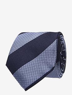 SILK STRIPE 7CM TIE - slips - navy/blue
