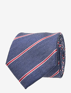 SILK VISCOSE STRIPE 7CM TIE - slips - navy/red