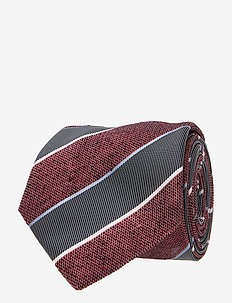 COTTON BLEND STRIPE 7CM TIE - slips - red/navy/white