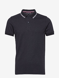 POLKA DOT JAQUARD SLIM POLO - short-sleeved polos - desert sky/multi