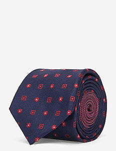 DESIGN SILK 7CM TIE - slipsar - navy/red
