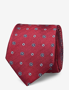 HERRINGBONE DESIGN SILK 7CM TIE - slips - red/navy